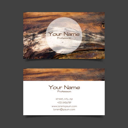 wood craft: Business card vector template with wood texture