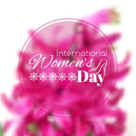 se�oras: Tarjeta de felicitaci�n del d�a Internacional de la Mujer. Vector fondo borroso