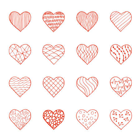 red hand: Vector set of red hand drawn doodle hearts Illustration