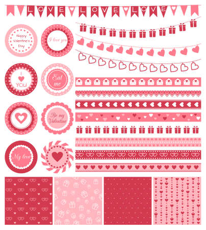 wedding gift: Vector set of design elements for Valentines Day or wedding