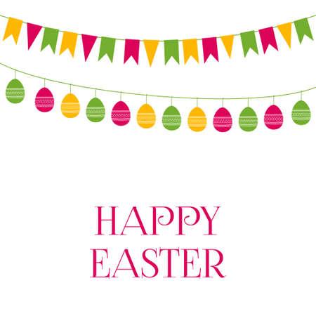 festive: Easter vector greeting card with festive garlands Illustration