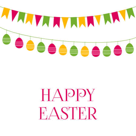 Easter vector greeting card with festive garlands Illustration