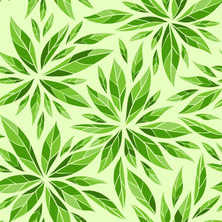 drawing on the fabric: Seamless vector background with green leaves pattern