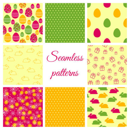 Set of vector seamless patterns for Easter design Vector