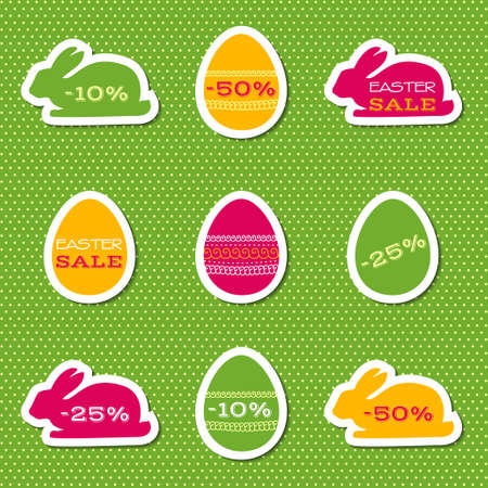 bunner: Vector set of stickers for easter sale Illustration