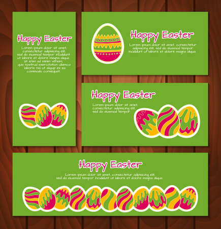 Vector set of Easter cards and banners Vector