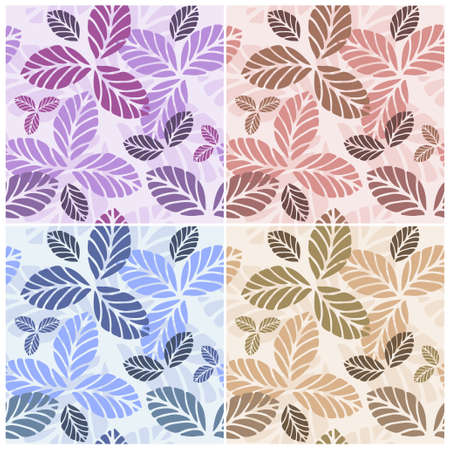 Set of floral seamless patters with decorative leaves