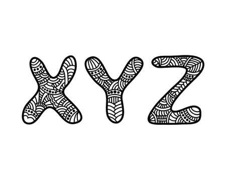 xyz: Doodle hand drawn vector alphabet. XYZ letters. Zentangle