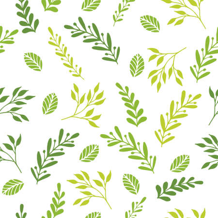 Floral seamless pattern with branches and leaves