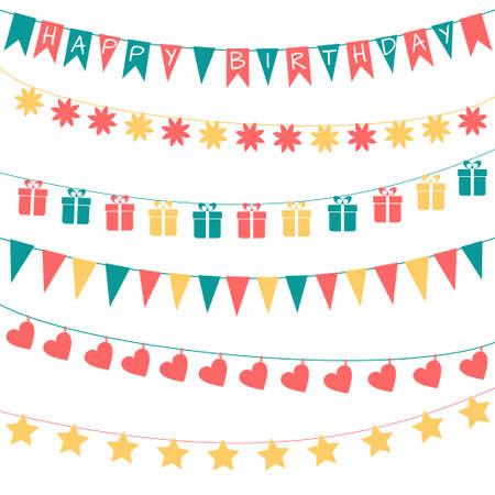 cartoon present: Vector set of birthday festive garlands Illustration