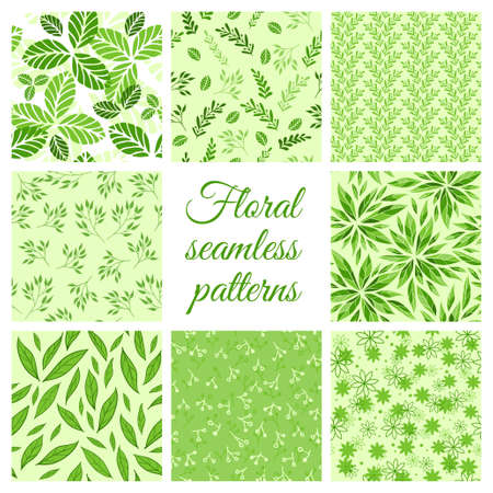 flat leaf: Vector set of floral seamless green patterns