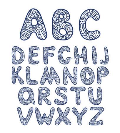 Doodle hand drawn vector alphabet. Zentangle art Illustration