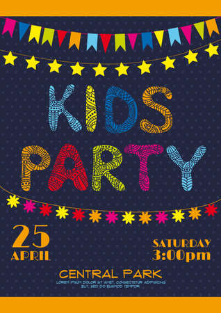 Invitation vector poster for kids birthday party