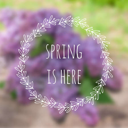 Spring is here card. Vector blurred background with lilac flowers