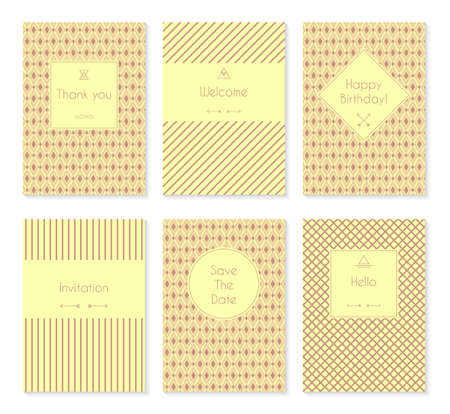 you are welcome: Set of vector card templates or brochures. May be used for birthday, invitations, save the date