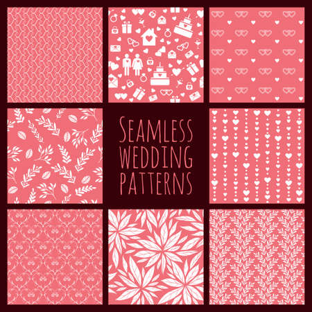 decoracion boda: Conjunto de patrones sin fisuras para la decoraci�n de la boda. Fondos abstractos Vectores