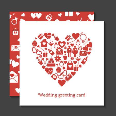 wedding couple: Set of wedding greeting card and seamless pattern Illustration