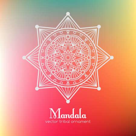 Ethnic vector mandala. Tribal ornament on blurred background Ilustracja