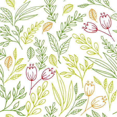Floral vector seamless pattern with hand drawn flowers and plants. Perfectly for print
