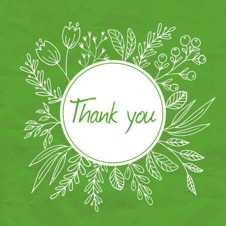 hand symbol: Thank you vector floral frame with hand drawn plants