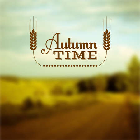 reaping: Autumn landscape. Autumn time insignia and vector blurred background Illustration