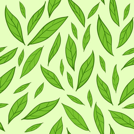 Seamless vector background with green tea leaves pattern Illustration