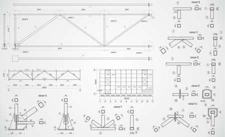 dibujo tecnico: Dibujo vectorial muy detallado de cercha industrial Vectores