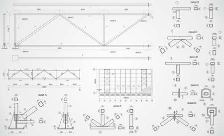 construction plans: Highly detailed vector drawing of industrial truss