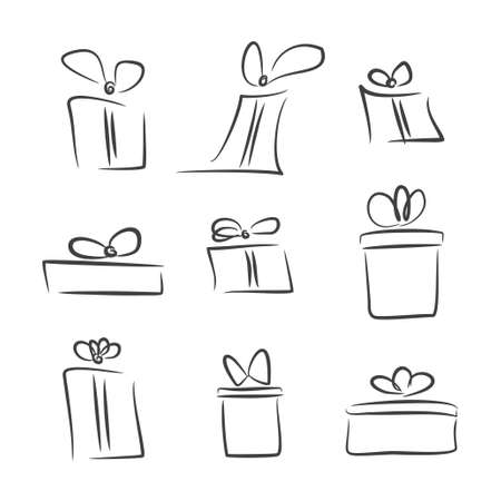 gift bow: Vector set of gift boxes, sketch, black and white
