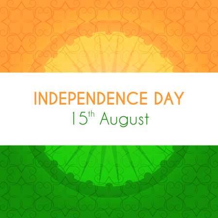 tricolor: Indian independence day vector greeting card with national tricolor and ornament on background