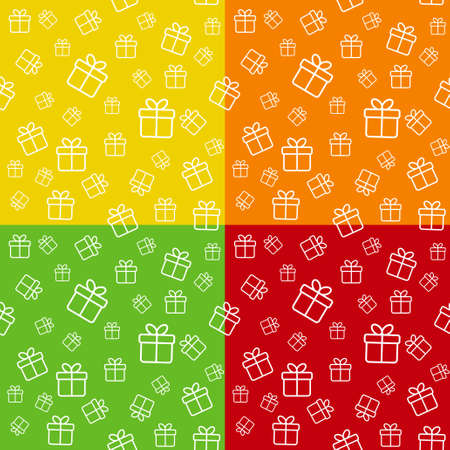 gift boxes: Set of bright seamless patterns with gift boxes Illustration