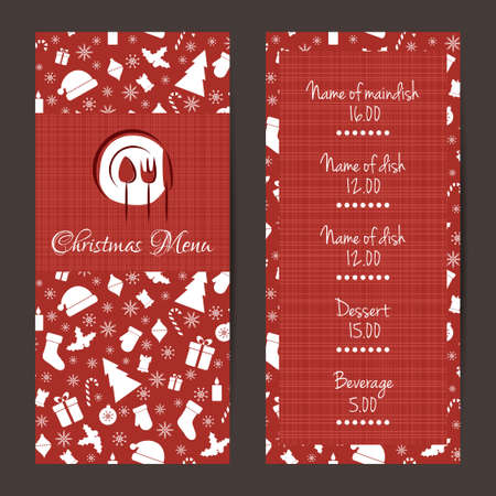 Christmas festive menu cards design. Vector template