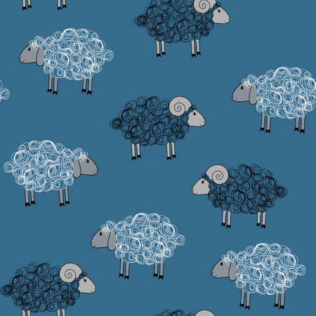 sheeps: Vector blue seamless pattern with white and black sheeps Illustration