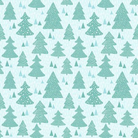 Seamless vector pattern with hand drawn christmas trees