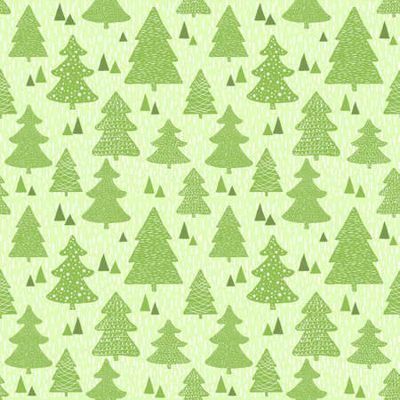 pine forest: Seamless vector green pattern with hand drawn christmas trees