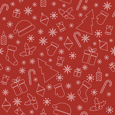 christmas gifts: Christmas seamless pattern with line christmas trees, gifts, snowflakes, mittens Illustration