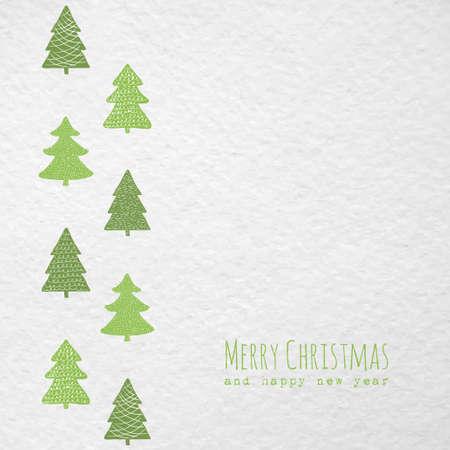 Christmas greeting card with Christmas trees