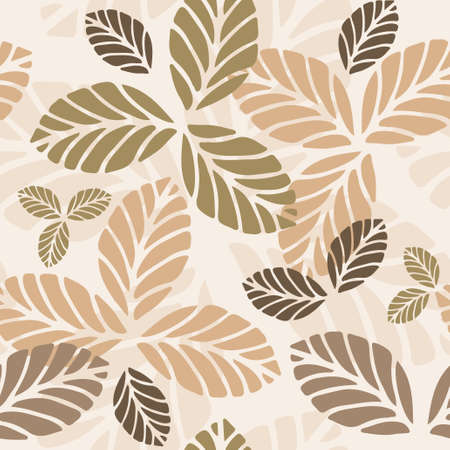 Floral vector seamless pattern with autumn leaves Illustration