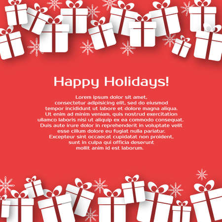 christmas gifts: Christmas vector background with gift boxes and text