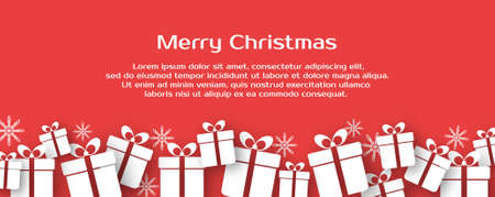 Christmas vector banner with gift boxes and text Ilustracja