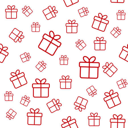 white boxes: Seamless vector white pattern with red gift boxes Illustration