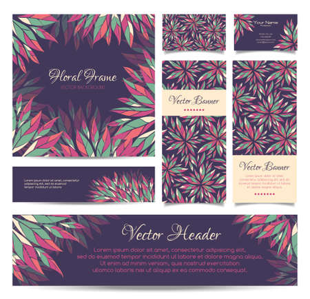 Set of vector banners, business card, frame and headers in the same floral style