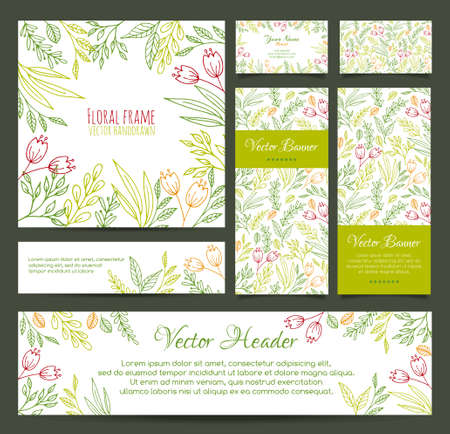 Set of vector banners, business card, frame, invitations and headers in the same floral line style Ilustrace