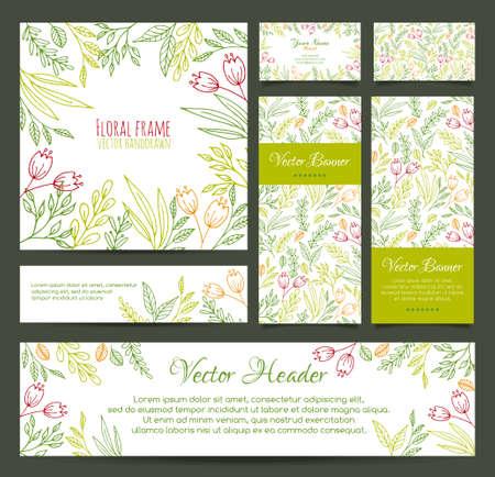 florale: Set von Vektor-Banner, Visitenkarte, Frame, Einladungen und Überschriften in der gleichen Blumenlinienstil