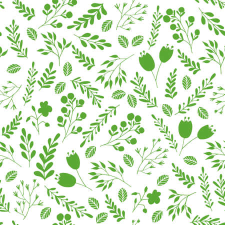 green plants: Vector floral seamless pattern with green garden plants and flowers
