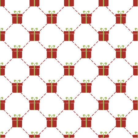 birthday presents: Vector seamless pattern with red gift boxes