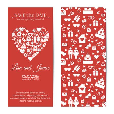 wedding love: Vector vertical wedding invitations. Love icons pattern