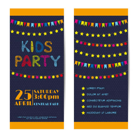 event party: Vector vertical banners, invitation cards set. Kids party Illustration