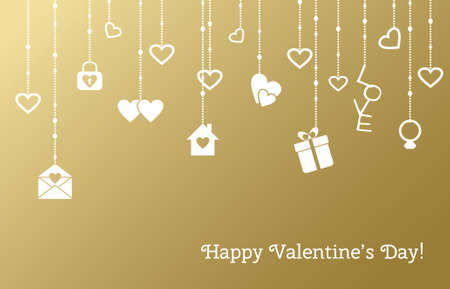 hangings: Greeting card for Valentines Day with hanging hearts, gifts on a gold background. illustration Illustration