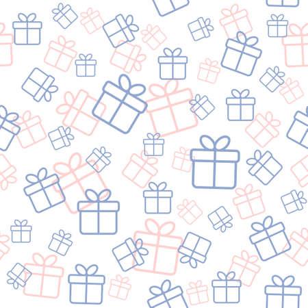 Nahtlose Weiß-Muster mit Geschenk-Boxen in trendigen Farben Ruhe und stieg quarz Standard-Bild - 50648799